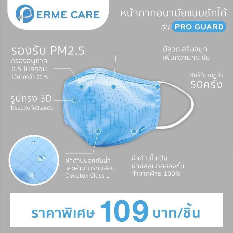 Perme Care หน้ากากอนามัยเด็ก แบบซักได้ รุ่น Pro Guard (Perme Care Face Mask Pro Guard)